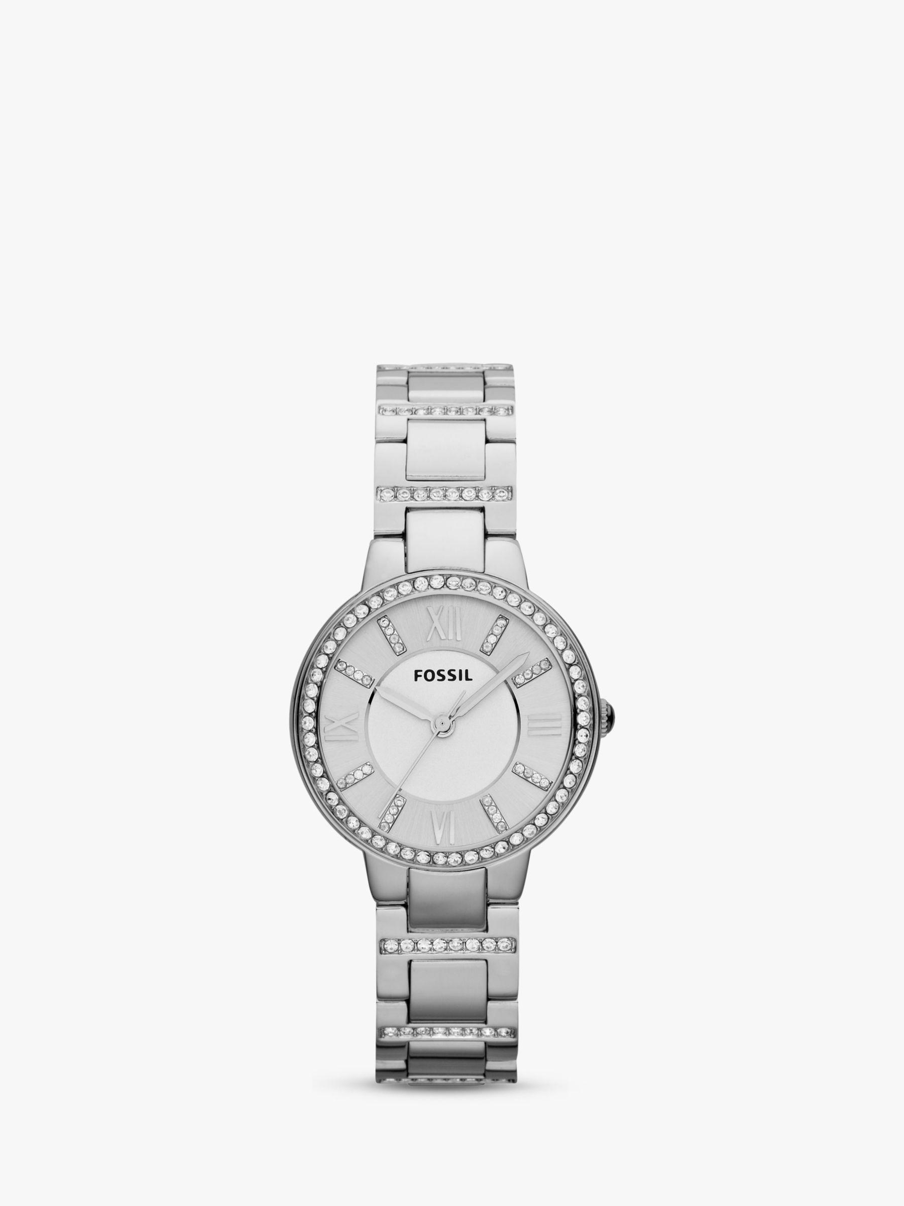 Fossil Fossil ES3282 Women's Virginia Stainless Steel Bracelet Strap Watch, Silver
