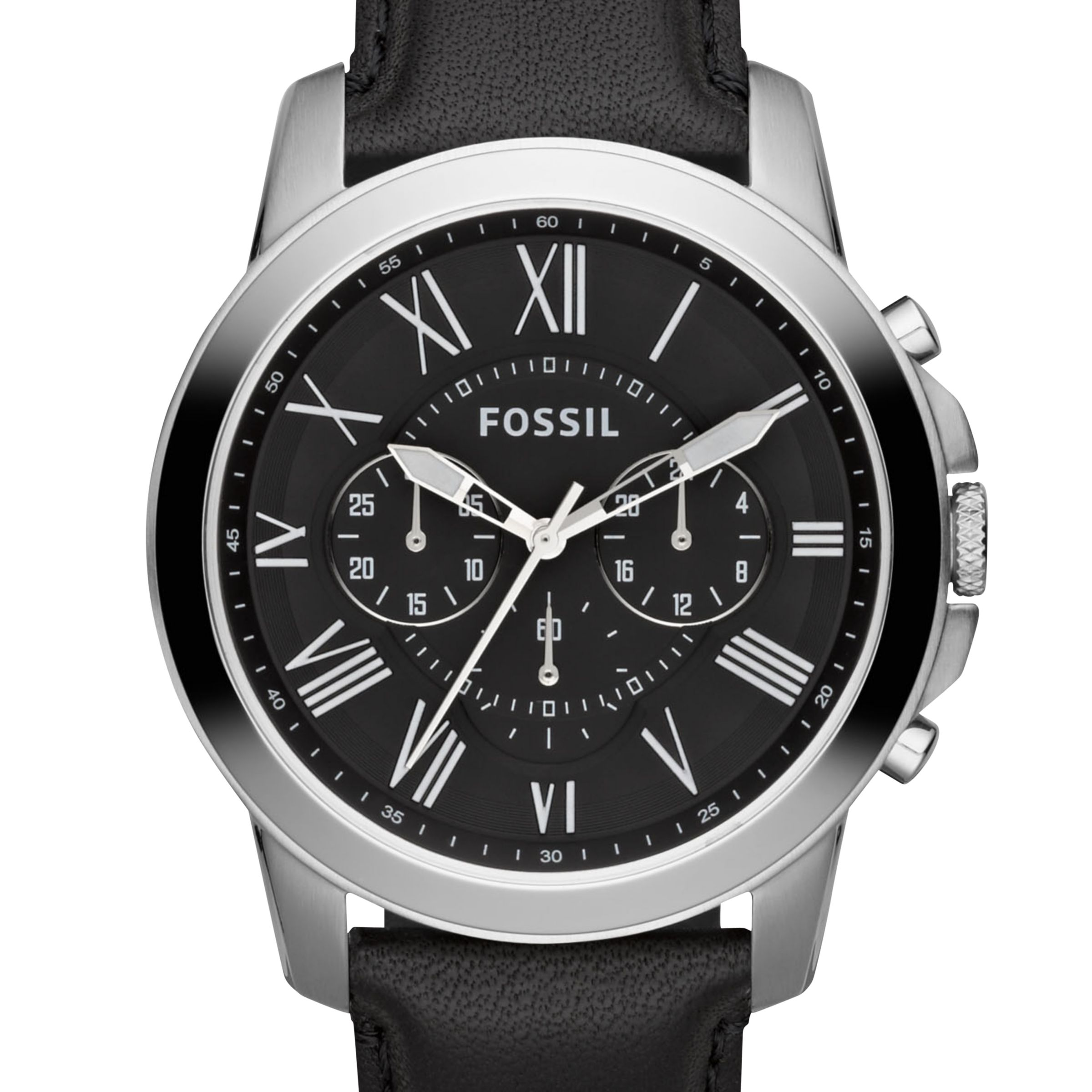 fc0664247 Fossil FS4812 Men's Grant Chronograph Leather Strap Watch, Black at John  Lewis & Partners