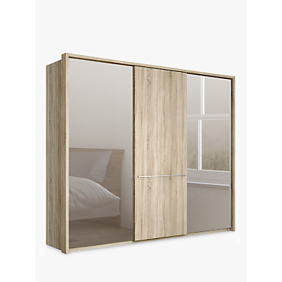 John Lewis & Partners Treviso 250cm Wardrobe with Rustic Oak and Bronzed Mirrored Sliding Doors