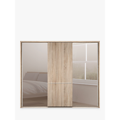 John Lewis Treviso 250cm Wardrobe with Rustic Oak and Bronzed Mirrored Sliding Doors