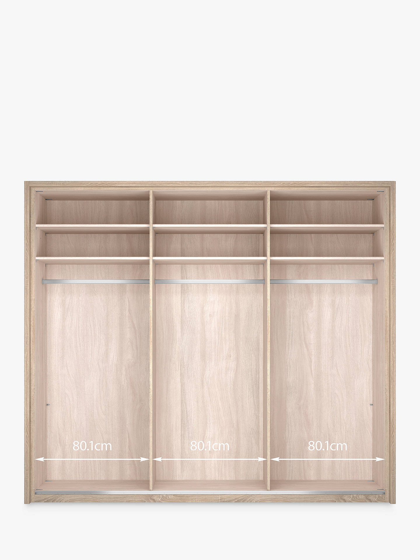 BuyJohn Lewis & Partners Treviso 250cm Wardrobe with Rustic Oak and Bronzed Mirrored Sliding Doors, Bronzed Mirrored Glass/Light Rustic Oak Online at johnlewis.com