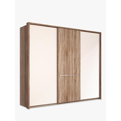 John Lewis Treviso 260cm Wardrobe with Glass and Dark Rustic Oak Sliding Doors