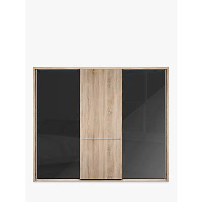 John Lewis Treviso 260cm Wardrobe with Glass and Light Rustic Oak Sliding Doors