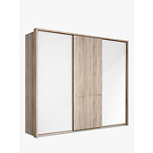 Buy John Lewis Treviso 260cm Wardrobe with Glass and Light Rustic Oak Sliding Doors Online at johnlewis.com