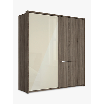 John Lewis & Partners Treviso 200cm Wardrobe with Glass and Dark Rustic Oak Sliding Doors