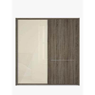 John Lewis Treviso 200cm Wardrobe with Glass and Dark Rustic Oak Sliding Doors