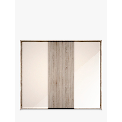 John Lewis & Partners Treviso 260cm Wardrobe with Glass and Light Rustic Oak Sliding Doors