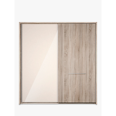 John Lewis & Partners Treviso 200cm Wardrobe with Glass and Light Rustic Oak Sliding Doors