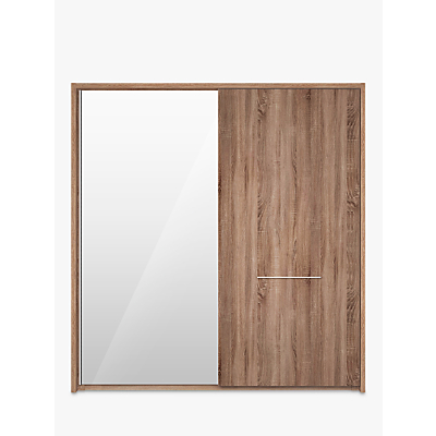 John Lewis & Partners Treviso 200cm Wardrobe with Rustic Oak and Bronzed Mirrored Sliding Doors
