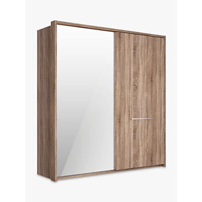 John Lewis Treviso 200cm Wardrobe with Rustic Oak and Bronzed Mirrored Sliding Doors