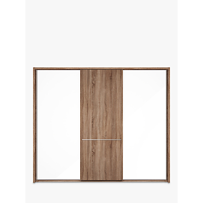 John Lewis & Partners Treviso 260cm Wardrobe with Glass and Dark Rustic Oak Sliding Doors