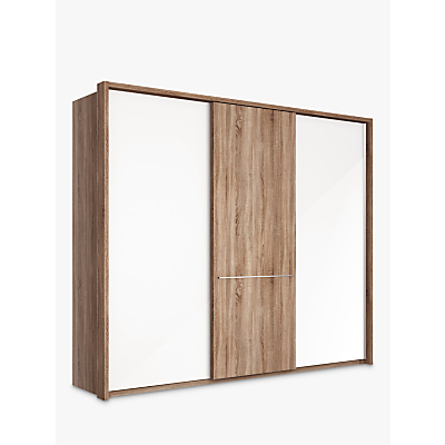 John Lewis Treviso 260cm Wardrobe with Glass and Dark Rustic Oak Sliding Doors