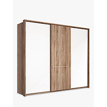 Buy John Lewis Treviso 260cm Wardrobe with Glass and Dark Rustic Oak Sliding Doors Online at johnlewis.com