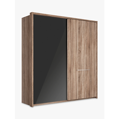 John Lewis Treviso 200cm Wardrobe with Glass and Dark Rustic Oak Sliding Doors