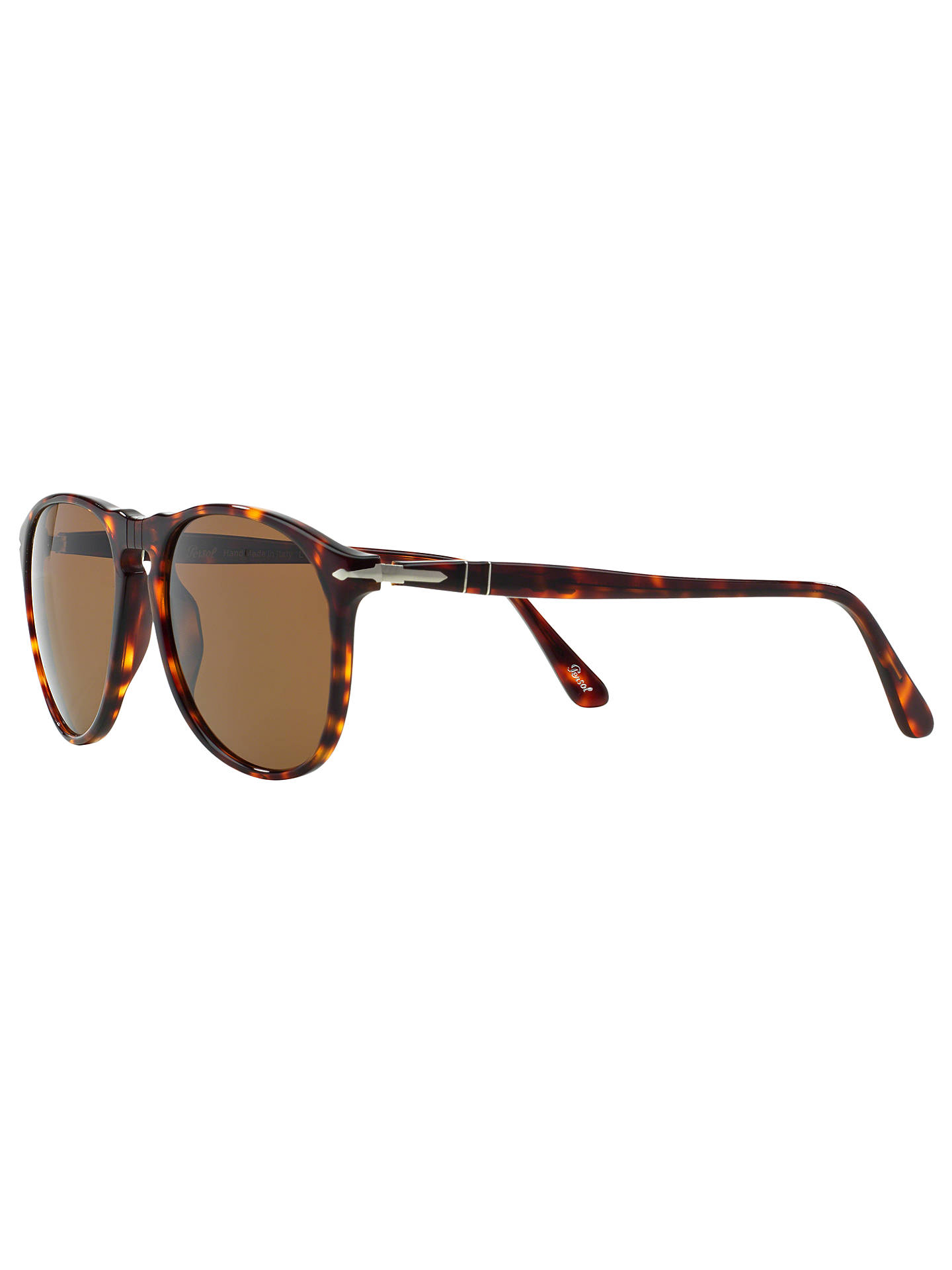 Buy Persol PO9649S Polarised Aviator Frame Sunglasses, Havana Online at johnlewis.com