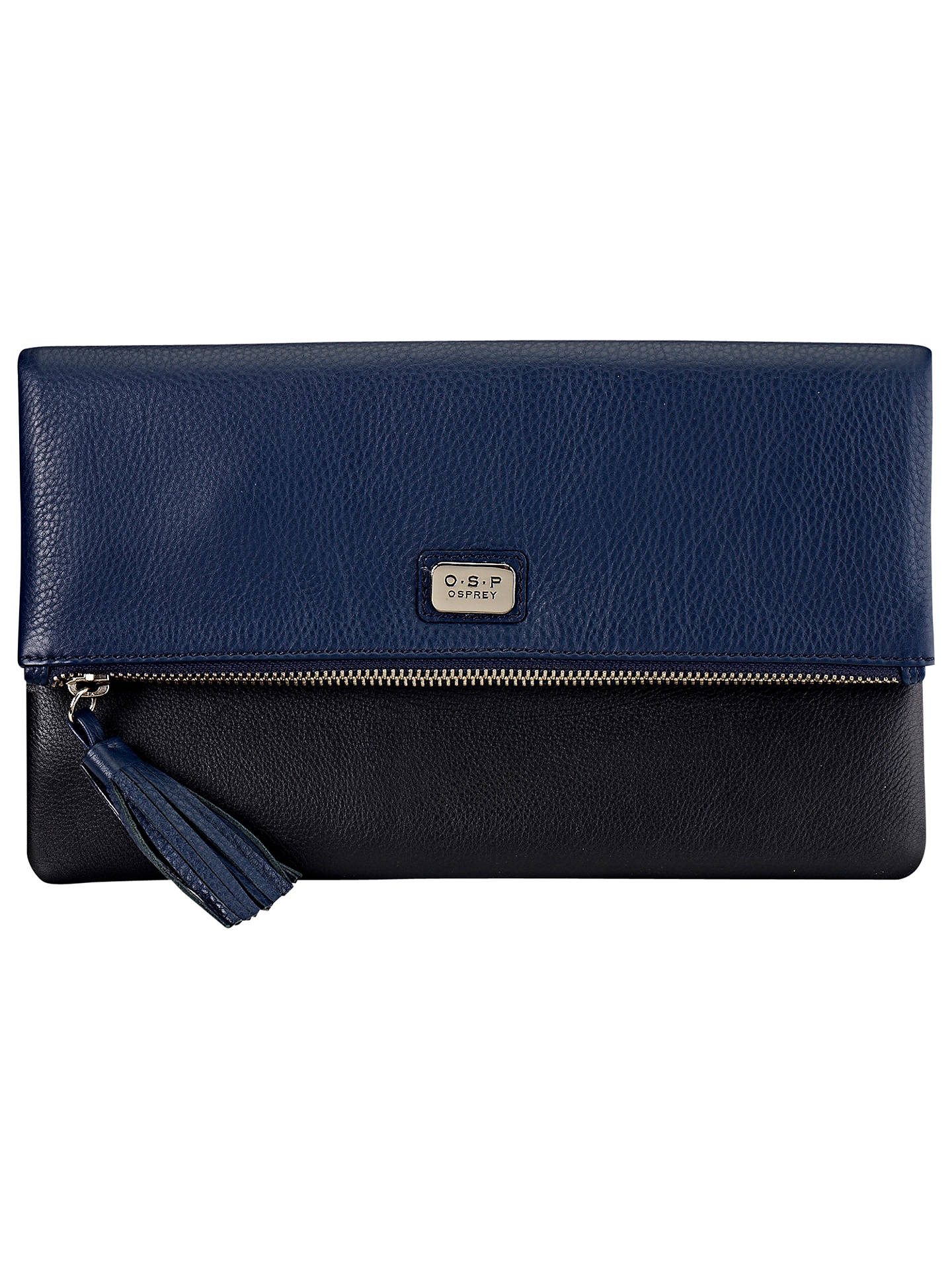 S P Osprey Na Leather Foldover Clutch Bag Navy Online At Johnlewis