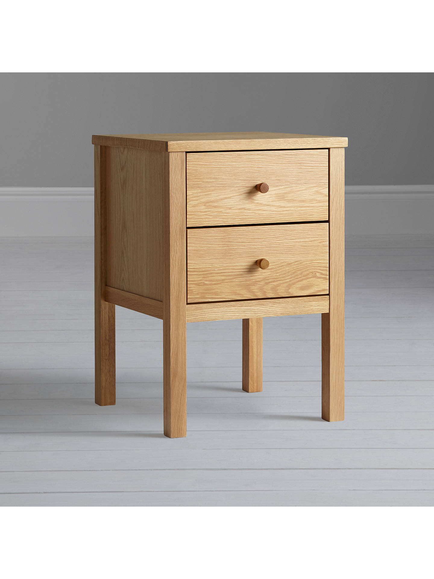 John Lewis & Partners Morgan 2 Drawer Bedside Table, Oak