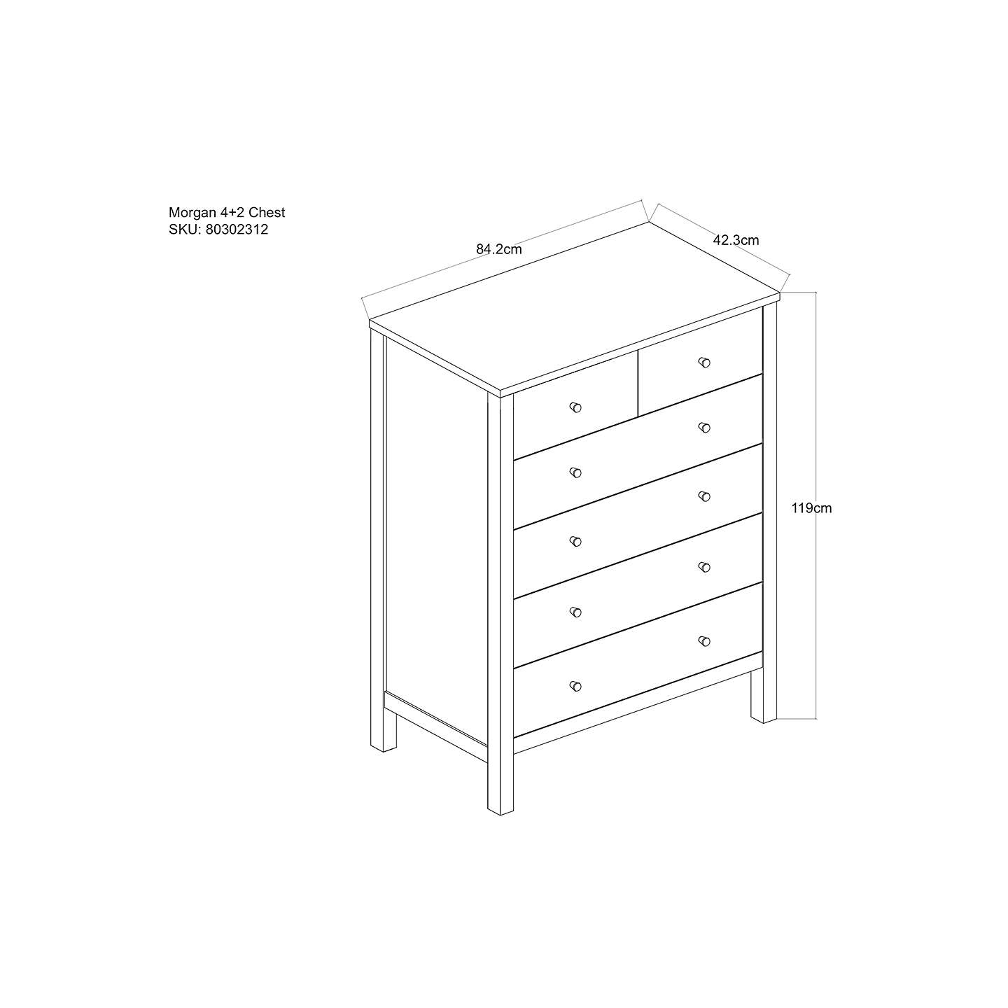 BuyJohn Lewis Morgan 6 Drawer Chest, Oak Online at johnlewis.com