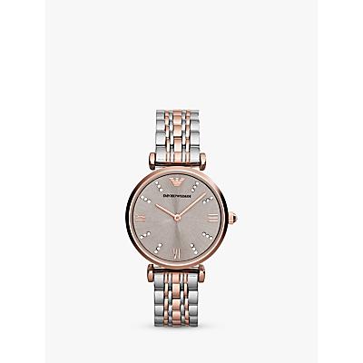 Emporio Armani AR1840 Women's Two Tone Bracelet Strap Watch, Silver/Rose Gold