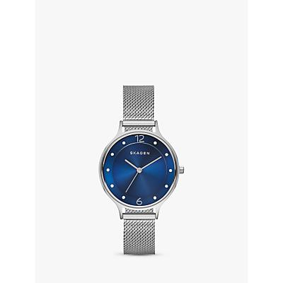 Skagen SKW2307 Women's Anita Stainless Steel Mesh Bracelet Strap Watch, Silver/Blue