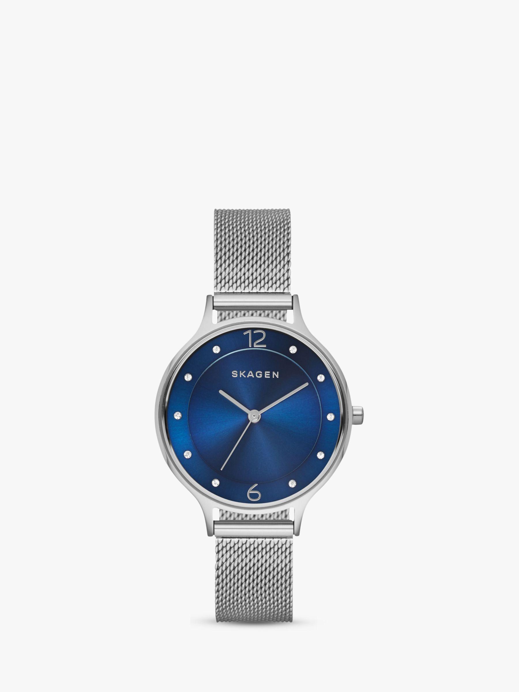 skagen Skagen SKW2307 Women's Anita Stainless Steel Mesh Bracelet Strap Watch, Silver/Blue