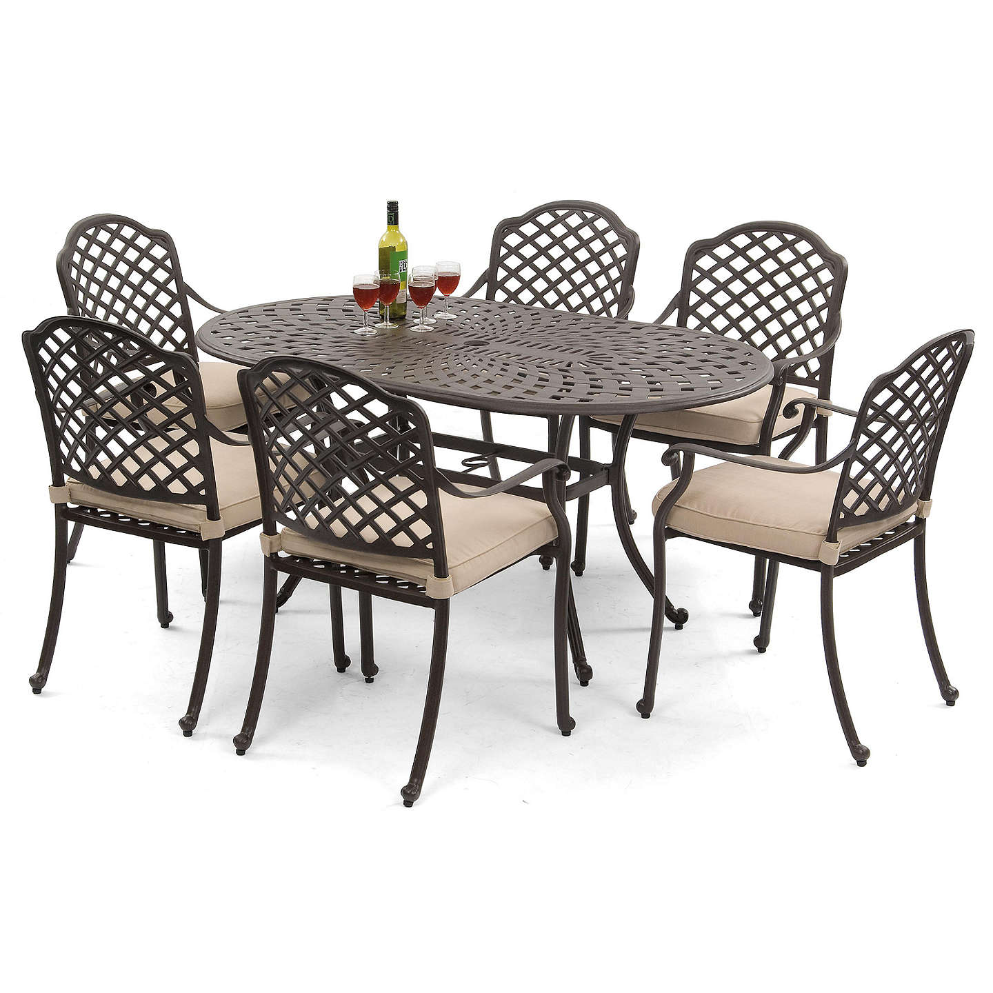 Suntime Buckingham 6 Seater Garden Dining Table and Chairs Set at