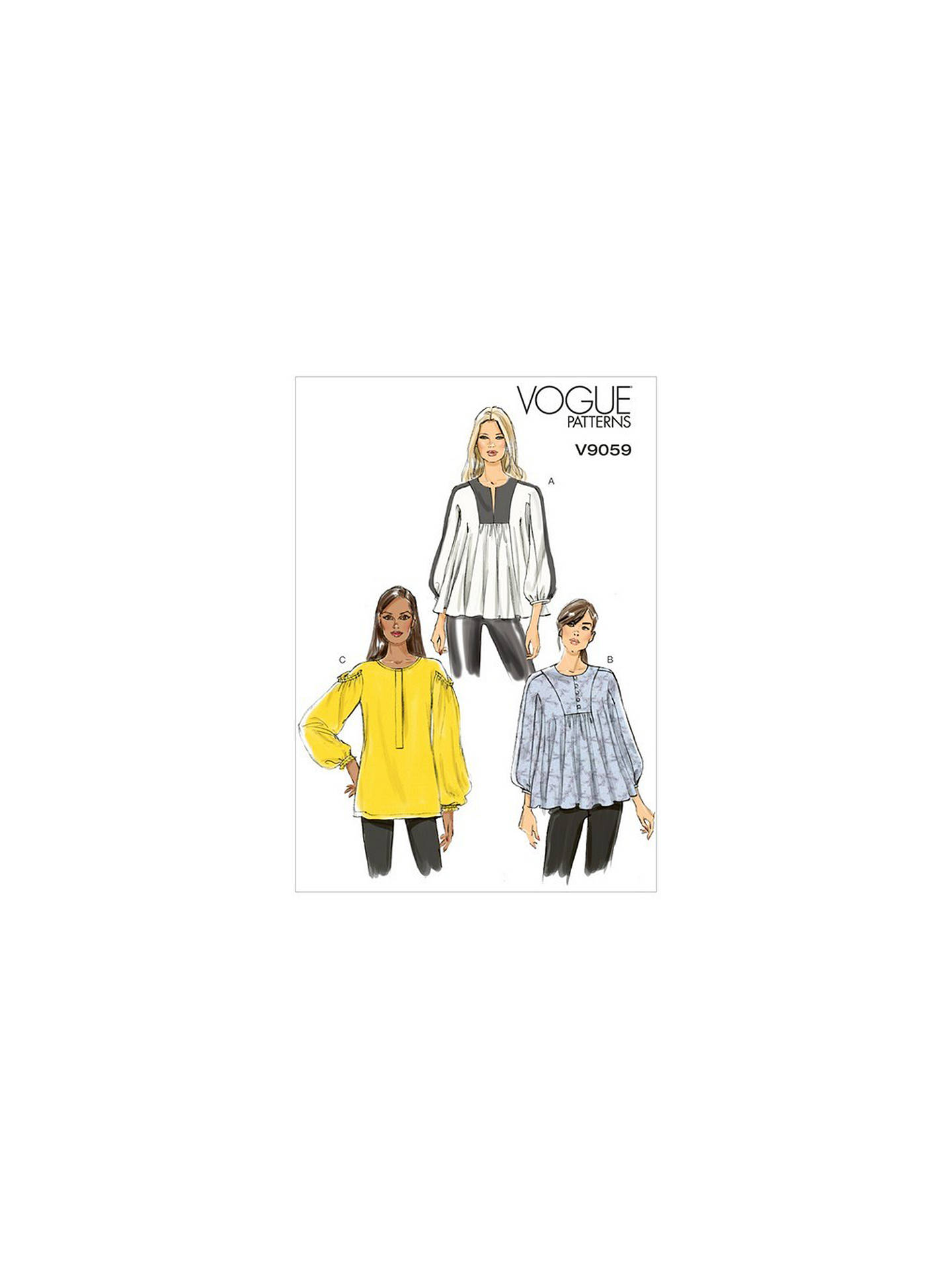 Vogue Women S Top And Tunic Sewing Pattern 9059 Y Online At Johnlewis