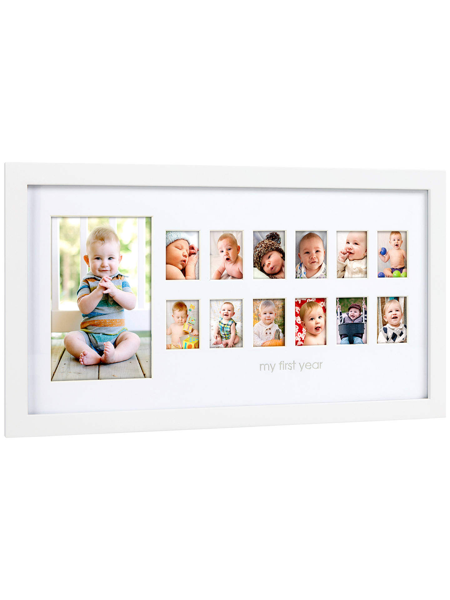 Pearhead 12 Month Picture Frame, White at John Lewis & Partners