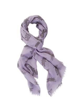 Chesca Butterfly Print Scarf, Soft Lilac