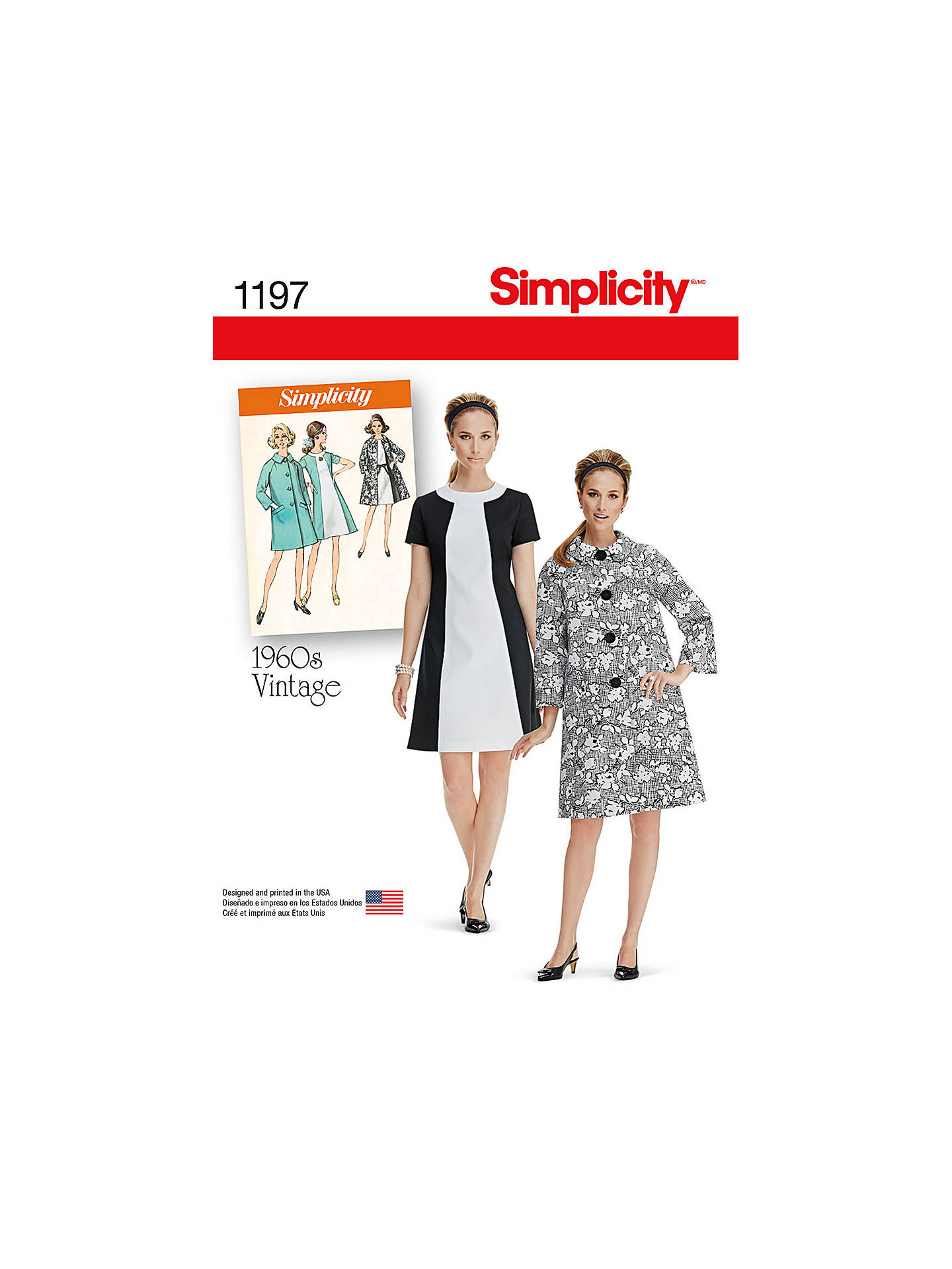 BuySimplicity 1960s Vintage Women's Dress and Coat Sewing Pattern, 1197, H5 Online at johnlewis.com