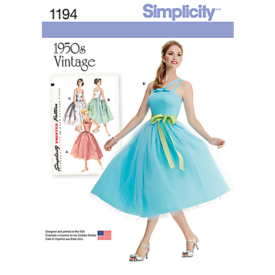 1950s Prom Dresses, Formal Dresses and Party Dresses Simplicity 1950s Vintage Womens Dress Sewing Pattern 1194 £9.95 AT vintagedancer.com