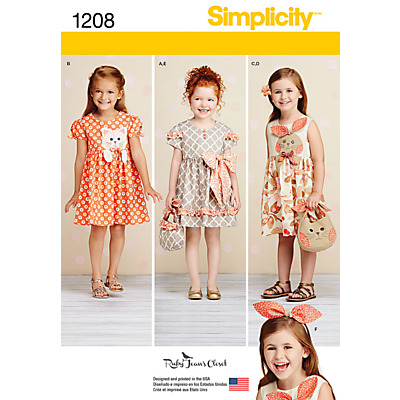 Simplicity Children's Dress Sewing Pattern, 1208