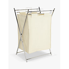 Buy John Lewis The Basics Chrome Foldable Laundry Hamper, White Online at johnlewis.com