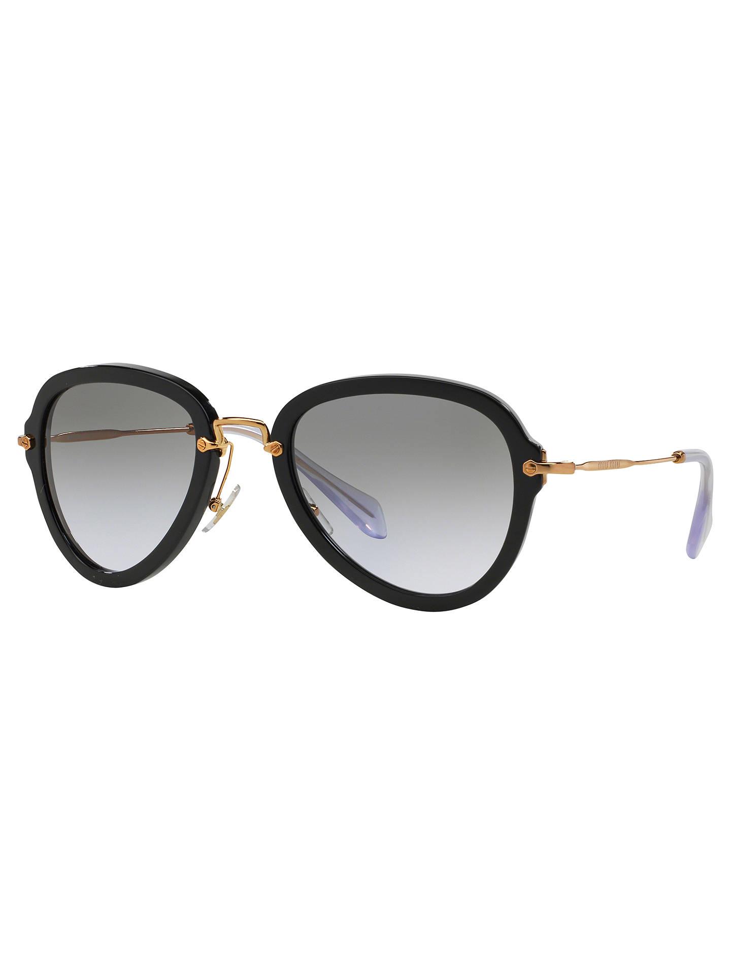 cb67d6494 Buy Miu Miu MU03QS Aviator Sunglasses, Black Online at johnlewis.com ...