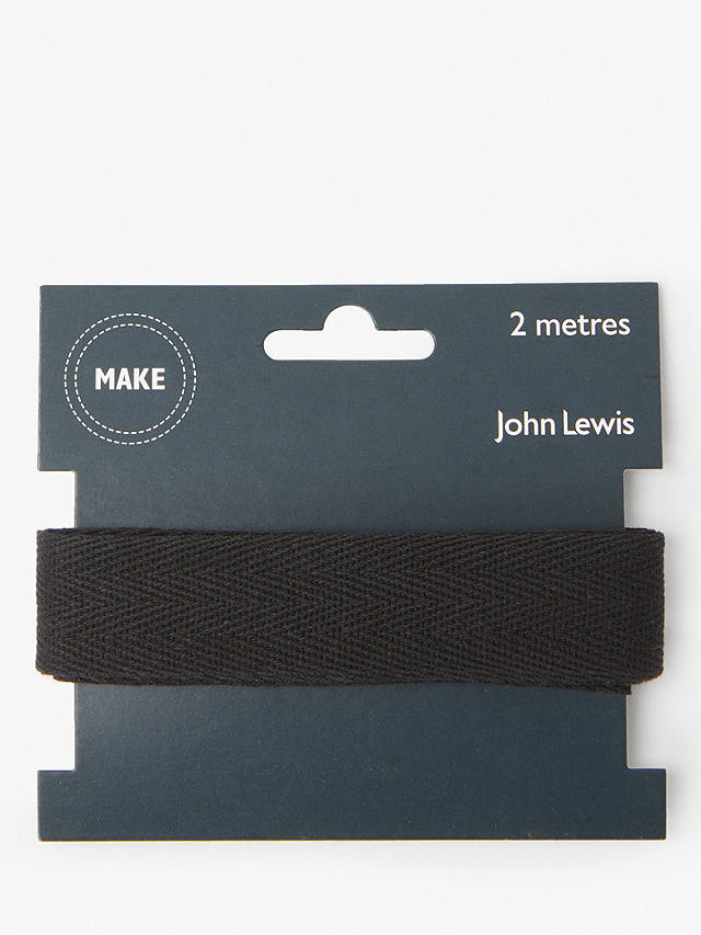 Buy John Lewis & Partners Herringbone Tape, 25mm, Black Online at johnlewis.com