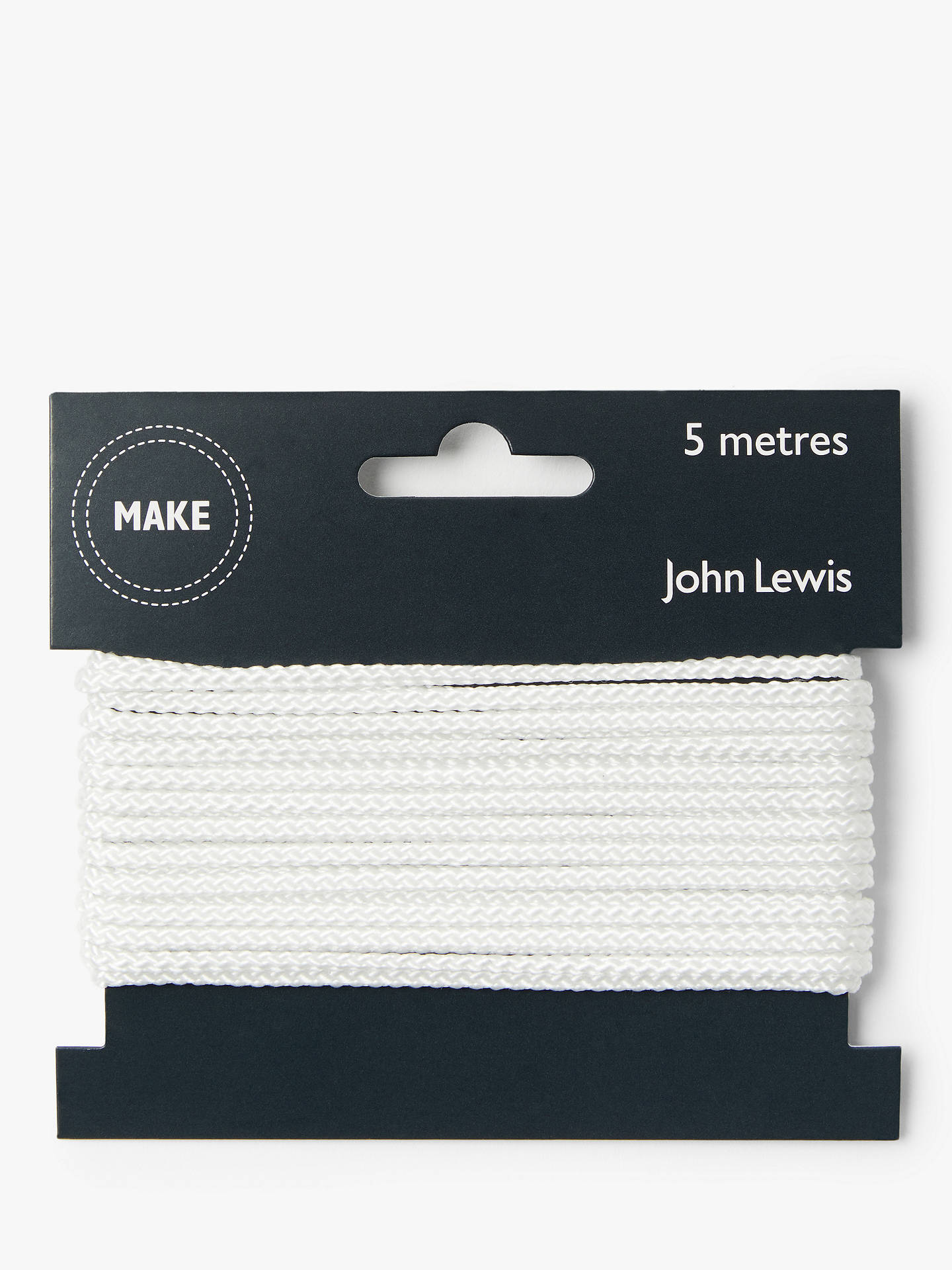 Buy John Lewis & Partners Cord White, 3mm, White Online at johnlewis.com