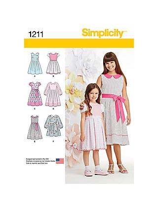 Simplicity Children's Dress Sewing Pattern, 1211