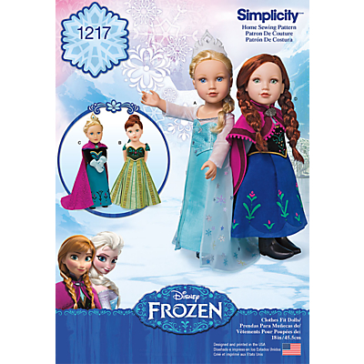 Image of Simplicity Disney Frozen Costumes Sewing Pattern, 1217
