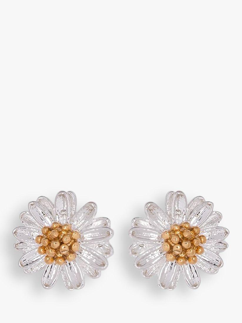 Estella Bartlett Estella Bartlett Mini Wildflower Silver Plated Earrings, Silver