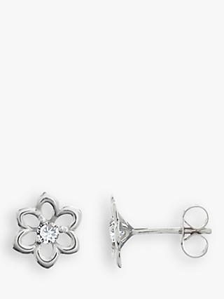 Nina B 9ct White Gold Flower Diamond Stud Earrings, White