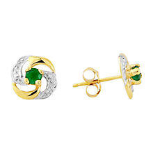 Buy A B Davis 9ct Gold Emerald Knot Shaped Earrings, Green Online at johnlewis.com