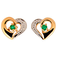 Buy A B Davis 9ct Gold Emerald Heart Shape Stud Earrings, Gold/Green Online at johnlewis.com