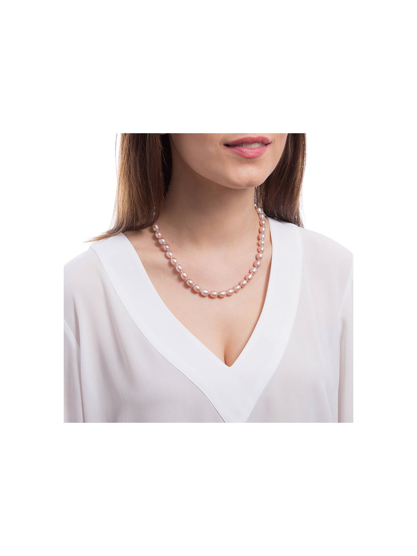 BuyClaudia Bradby Rice Pearl Necklace, Pink Online at johnlewis.com