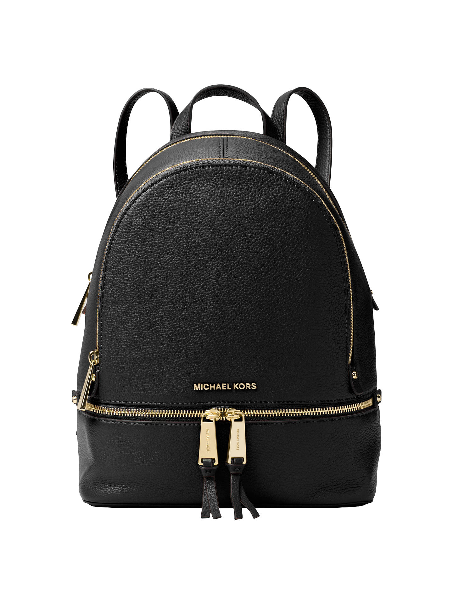 4b8e0317ca554c Buy MICHAEL Michael Kors Rhea Leather Backpack, Black Online at  johnlewis.com ...