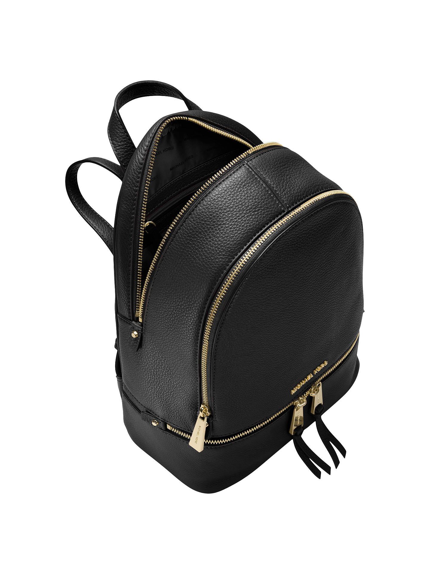 4079b8794f4b ... Buy MICHAEL Michael Kors Rhea Leather Backpack, Black Online at  johnlewis.com ...