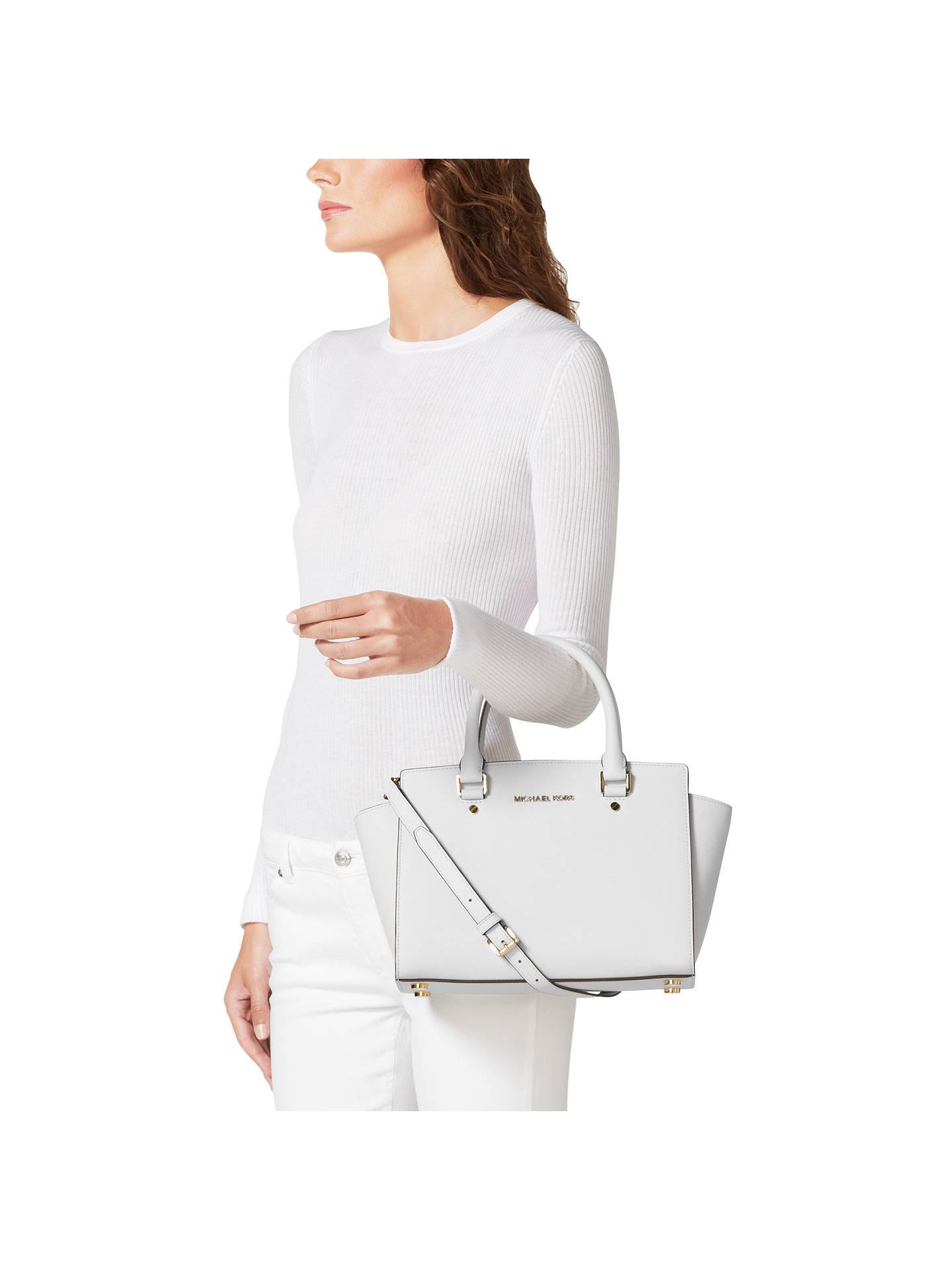 73b4e3937 Buy MICHAEL Michael Kors Selma Saffiano Medium Leather Satchel, Optic White  Online at johnlewis.