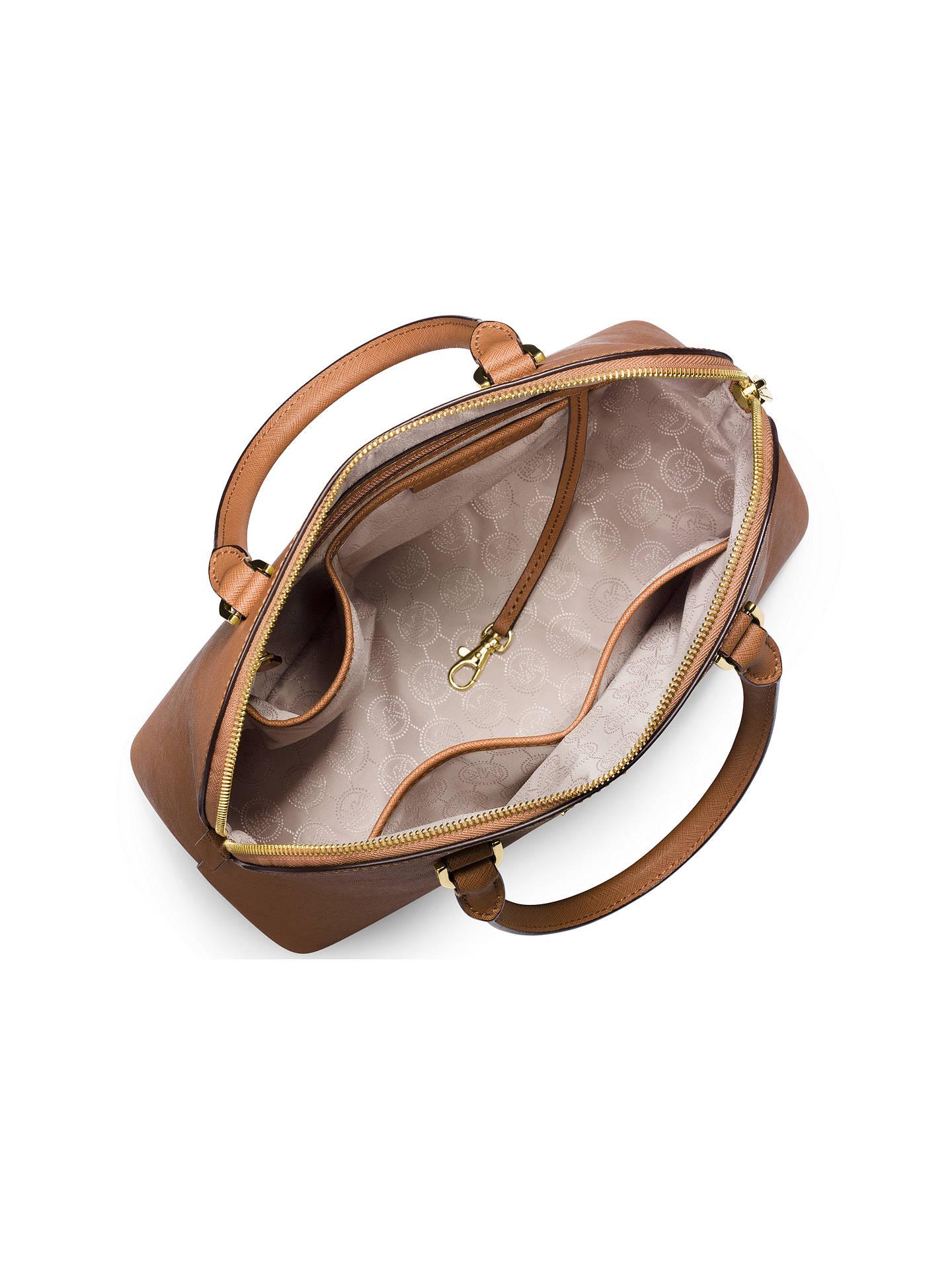 33bc8d9dbee1 ... Buy MICHAEL Michael Kors Cindy Large Leather Dome Satchel, Peanut  Online at johnlewis.com