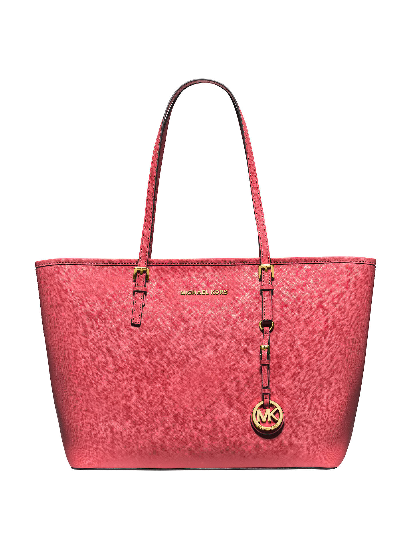 ab76d2c3b166a2 Buy MICHAEL Michael Kors Jet Set Travel Saffiano Leather Tote Bag,  Watermelon Online at johnlewis ...