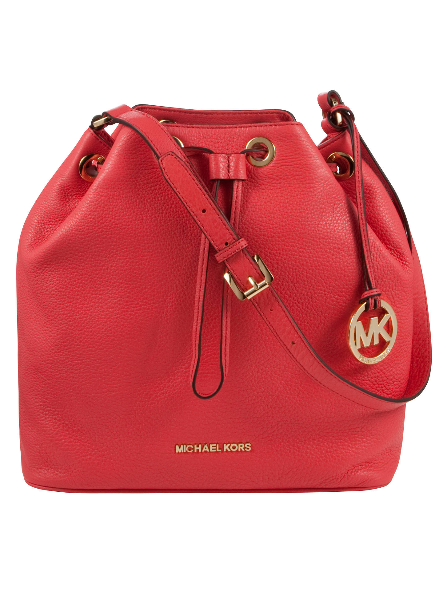 1eacb3aae0a7 Buy MICHAEL Michael Kors Jules Drawstring Leather Bucket Bag,  Pink/Watermelon Online at johnlewis ...