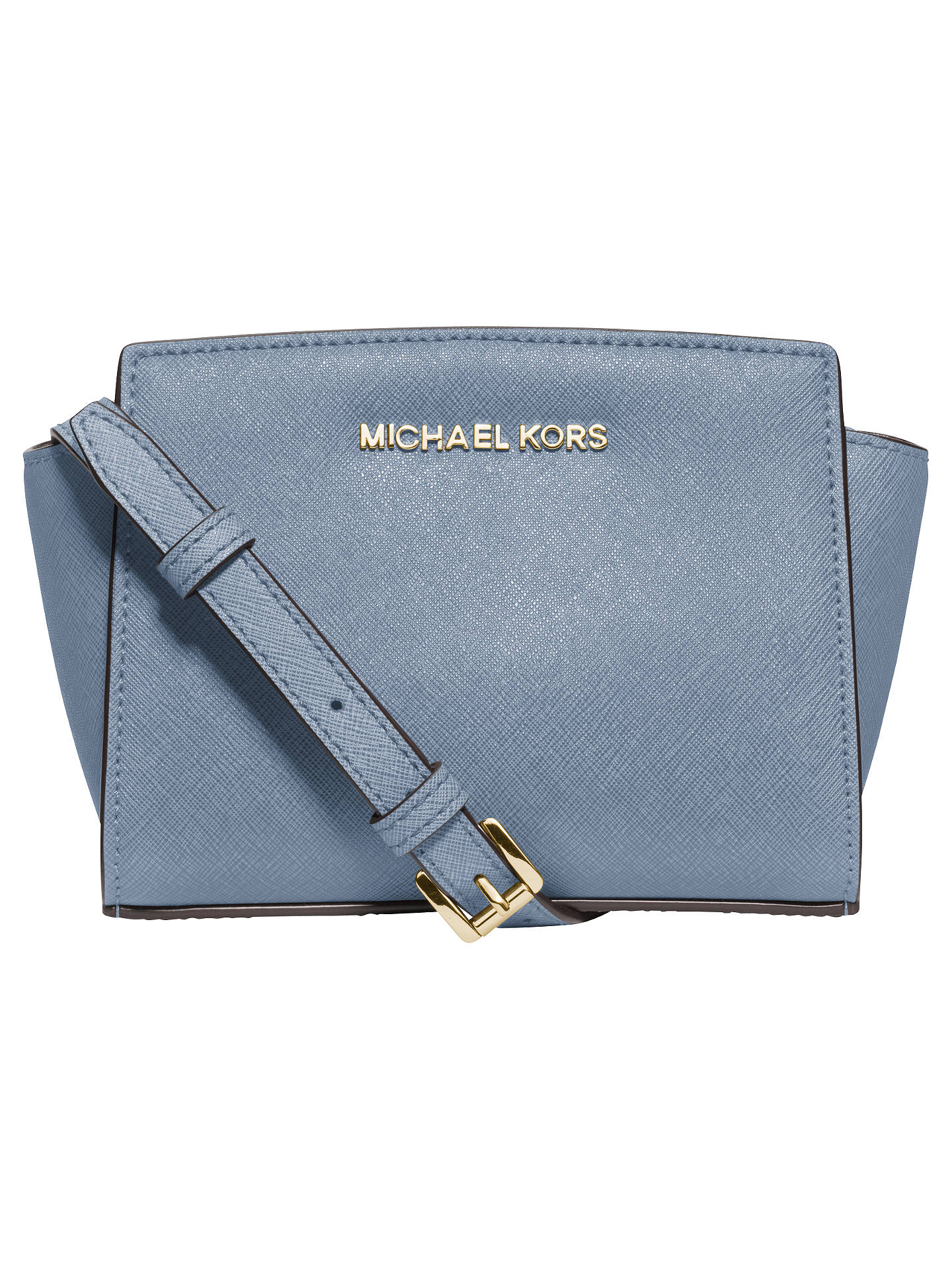 bf95ac3cf1bb Buy MICHAEL Michael Kors Selma Mini Leather Messenger Bag, Pale Blue Online  at johnlewis.